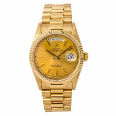 Rolex Day-Date 18238 Men's Automatic Watch Champagne Dial 18 Karat Yellow Gold