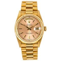 Rolex Day-Date 18238 Mint Men's Automatic Watch 18 Karat Silverpink Patina Dial