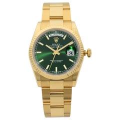 Rolex Day-Date 18 Karat Gold President Green Dial Automatic Men's Watch 118238