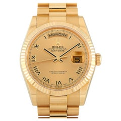 Rolex Day-Date 18k Yellow Gold President Khnajar Watch 118238CRP