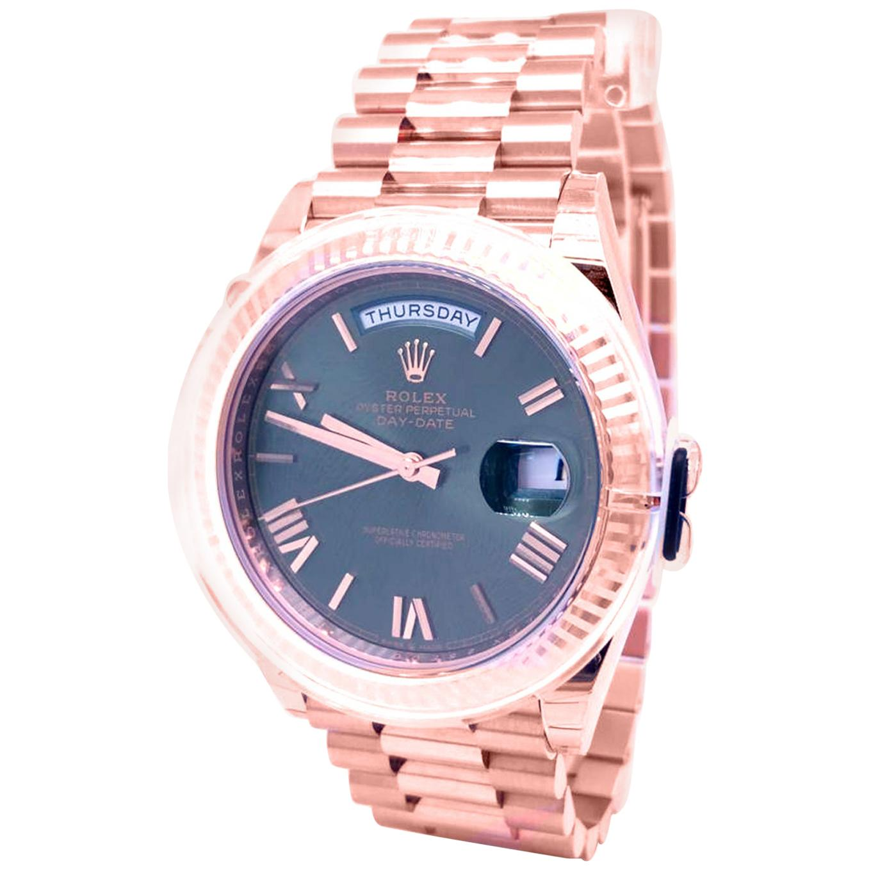 Rolex Day Date 228235 President Everose Gold Green Roman Dial Watch