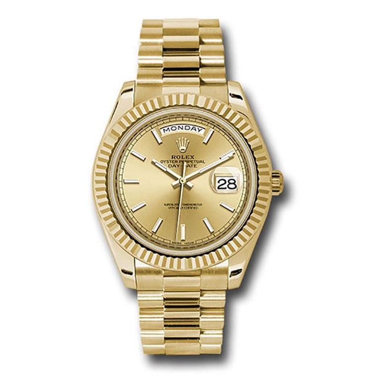 This brand new Rolex Day-Date 40 228238 is a beautiful men's timepiece that is powered by an automatic movement which is cased in a yellow gold case. It has a round shape face, day & date dial and has hand sticks style markers. It is completed with