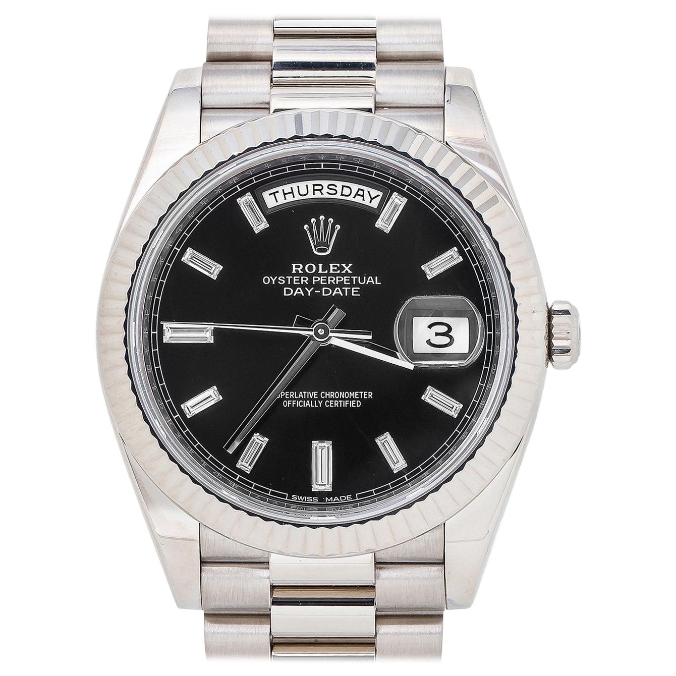 Rolex Day-Date 228239, Black Dial, Certified and Warranty