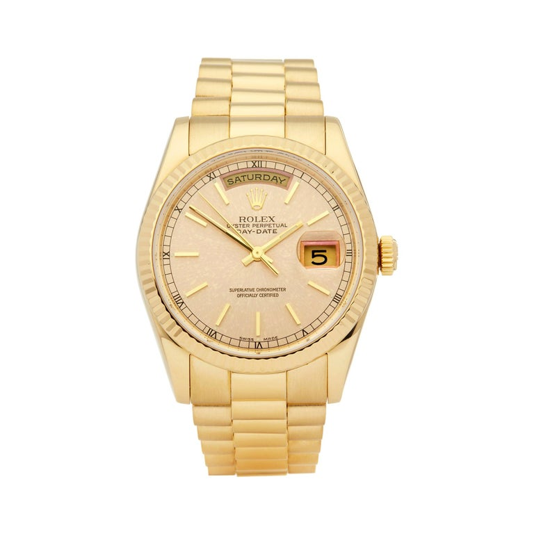 Rolex Day-Date 36 18 Karat Yellow Gold 118238 For Sale