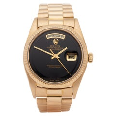 Rolex Day-Date 36 1803 Unisex Yellow Gold Onyx Step Dial Watch
