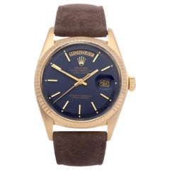 Rolex Day-Date 36 1803 Unisex Yellow Gold Pie Pan Gloss Blue Watch