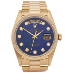 Rolex Day-Date 36 18038 Men's Yellow Gold Lapis Lazuli Diamond Watch