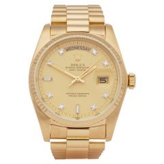 Rolex Day-Date 36 18038 Unisex Yellow Gold Diamond Watch