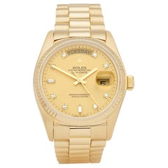 Rolex Day-Date 36 18038 Unisex Yellow Gold Diamond Watch