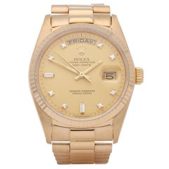 Rolex Day-Date 36 18038A Unisex Yellow Gold Diamond Dial Watch