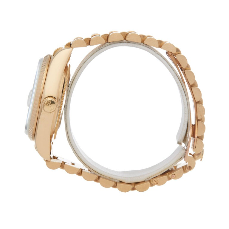 Rolex Day-Date 36 18038A Unisex Yellow Gold Diamond Watch In Good Condition For Sale In Bishops Stortford, Hertfordshire