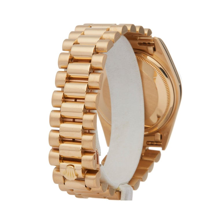 Rolex Day-Date 36 18038A Unisex Yellow Gold Diamond Watch For Sale 1