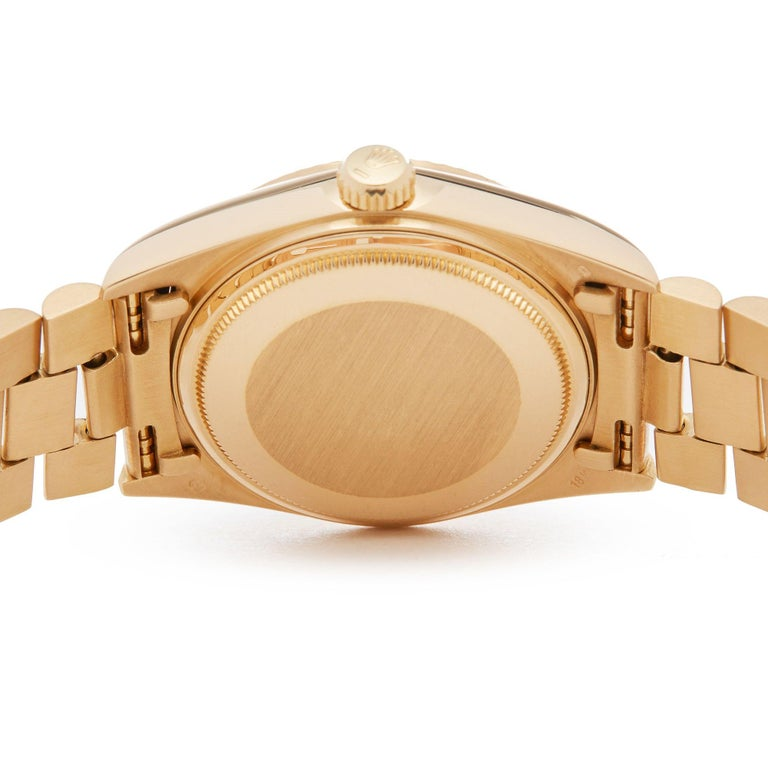 Rolex Day-Date 36 18038A Unisex Yellow Gold Diamond Watch For Sale 2
