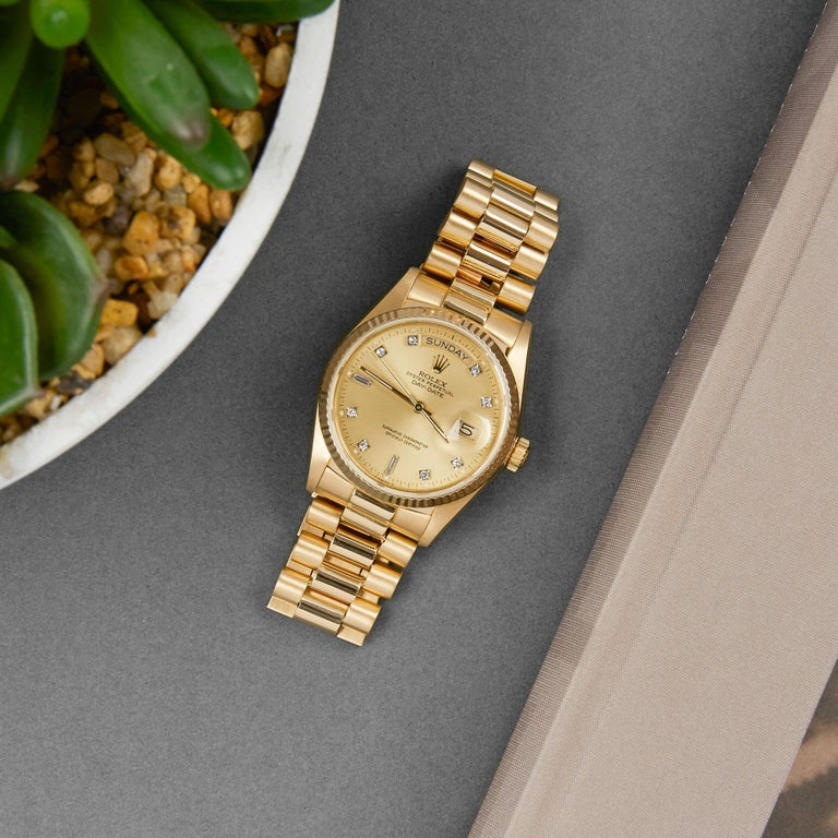 Rolex Day-Date 36 18038A Unisex Yellow Gold Diamond Watch For Sale 4