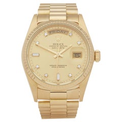 Rolex Day-Date 36 18038A Unisex Yellow Gold Diamond Watch