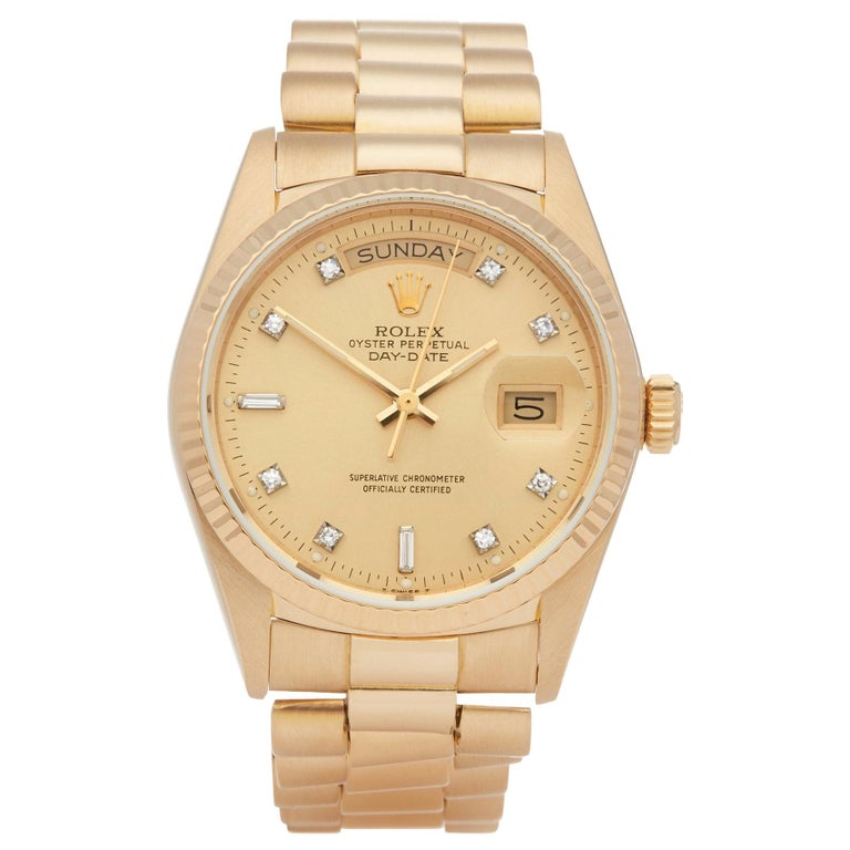 Rolex Day-Date 36 18038A Unisex Yellow Gold Diamond Watch For Sale