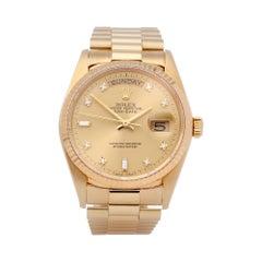 Rolex Day-Date 36 18038A Unisex Yellow Gold Diamond Watch