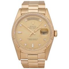 Rolex Day-Date 36 18238 Men's Yellow Gold Diamond Watch