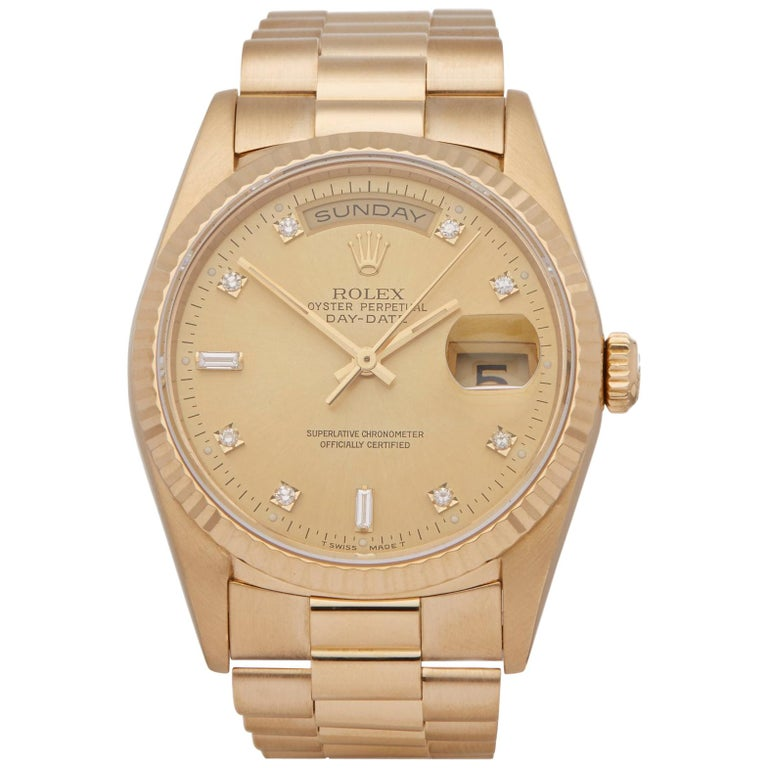 Rolex Day-Date 36 18238 Men's Yellow Gold Diamond Watch For Sale