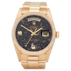 Rolex Day-Date 36 18238 Unisex Yellow Gold Ammonite Fossil Dial Watch