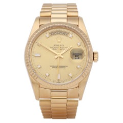 Rolex Day-Date 36 18238A Unisex Yellow Gold Diamond Watch