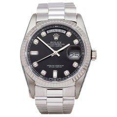 Rolex Day-Date 36 18239 Unisex White Gold Diamond Watch