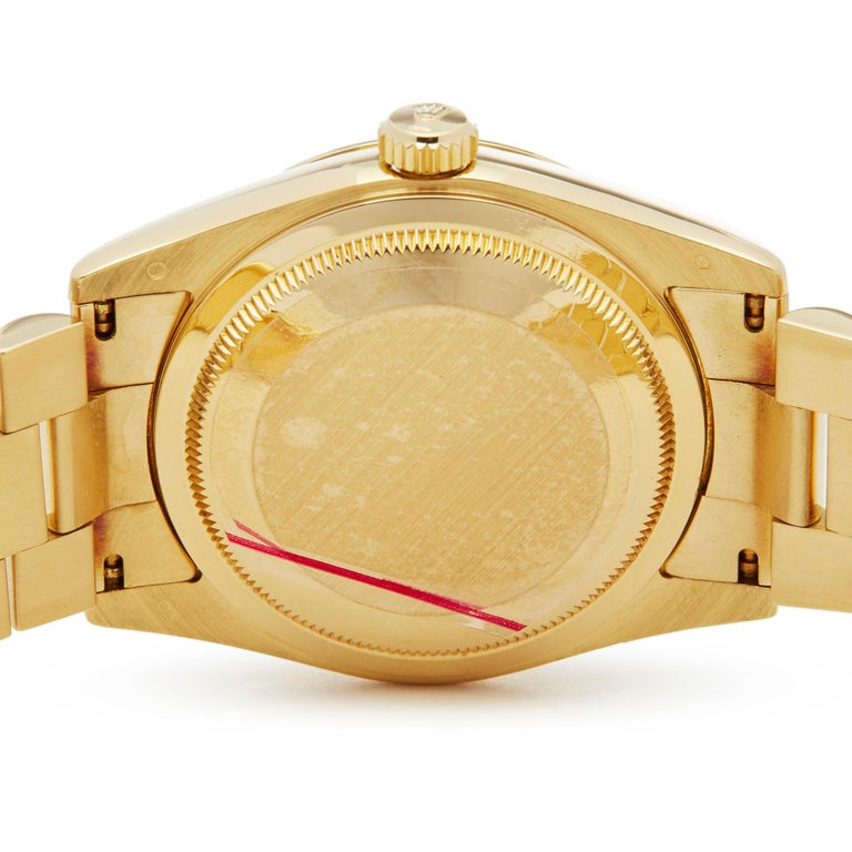 Rolex Day-Date 36 18 Karat Yellow Gold 118238 For Sale 2