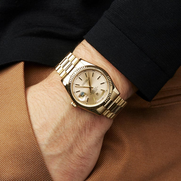 Rolex Day-Date 36 18 Karat Yellow Gold 118238 For Sale 4
