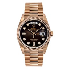 Rolex Day-Date 36 Rose Gold Chocolate Diamond Dial Watch 128235