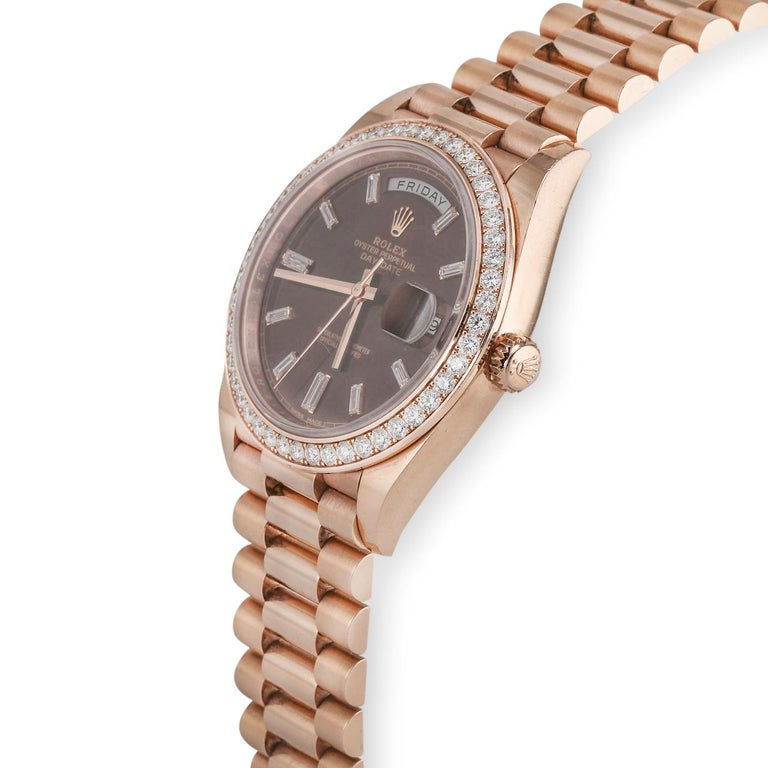 Rolex Day-Date 40 18 Karat Rose Gold '228345' In Good Condition For Sale In Dallas, TX