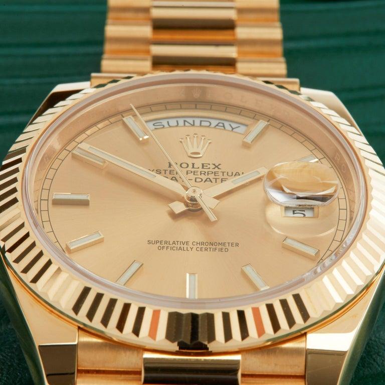 Rolex Day-Date 40 228238 Men's Yellow Gold Unworn Watch In New Condition For Sale In Bishops Stortford, Hertfordshire