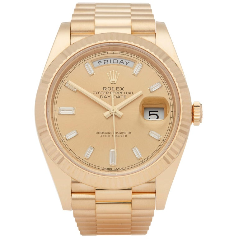 Rolex Day-Date 40 228238 Men's Yellow Gold Baguette Diamond Dial Watch For Sale