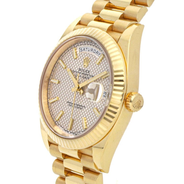 Rolex Day-Date 40 Diagonal Motif Dial Yellow Gold Automatic Men's Watch 228238 In New Condition For Sale In New York, NY