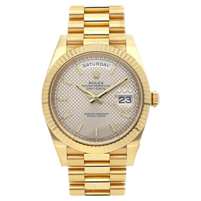 Rolex Day-Date 40 Diagonal Motif Dial Yellow Gold Automatic Men's Watch 228238 For Sale