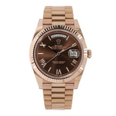 Rolex Day-Date 40 Rose Gold Chocolate Brown Watch 228235