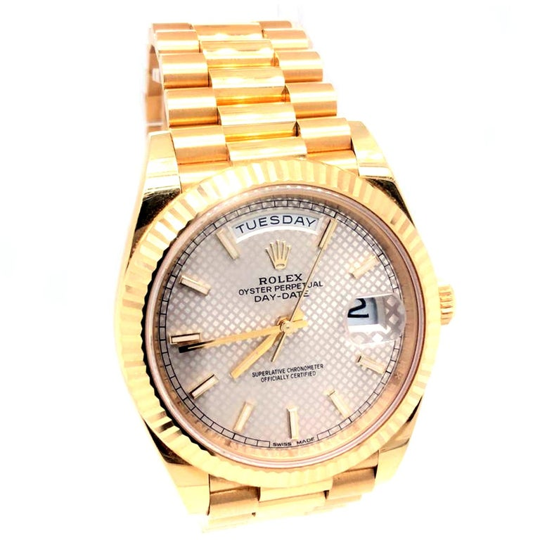 Modernist Rolex Day-Date 40 Silver Motif Dial 18K Yellow Gold President Men's Watch 228238