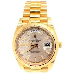 Rolex Day-Date 40 Silver Motif Dial 18K Yellow Gold President Men's Watch 228238