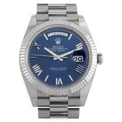 Rolex Day-Date 40 White Gold President Blue Dial Watch 228239BLRP