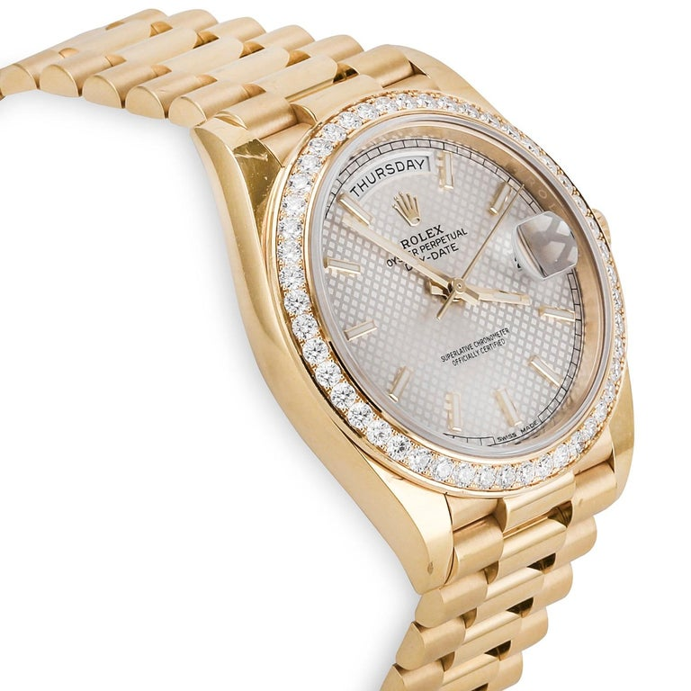Rolex Day-Date 40 Yellow Gold '228348RBR' In Good Condition For Sale In Dallas, TX
