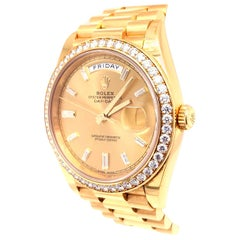 Rolex Day-Date 40 Yellow Gold Champagne Diamond Dial & Bezel Bracelet 228348RBR