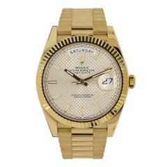 Rolex Day-Date 18 Karat Yellow Gold President Silver Diagonal Watch 228238