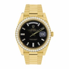 Rolex Day-Date Yellow Gold Black Dial Diamond Bezel Watch 228348RBR
