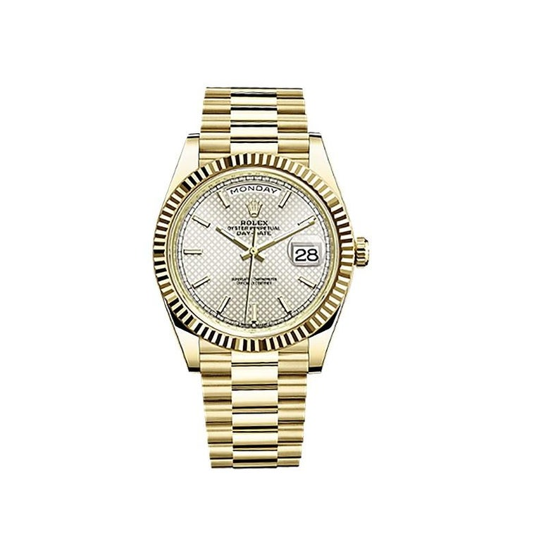 Women's or Men's Rolex Day-Date Yellow Gold Men's Watch 228238 Silver Diagonal Index For Sale