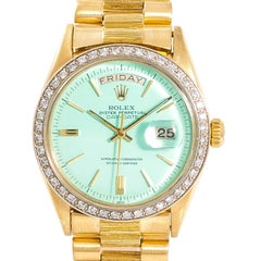 Rolex Day-Date Bark 1803 Lime Color Dial Automatic Vintage Watch 1.32CT 18K 36mm