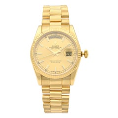 Rolex Day-Date Champagne Dial 18 Karat Yellow Gold President Men's Watch 118238