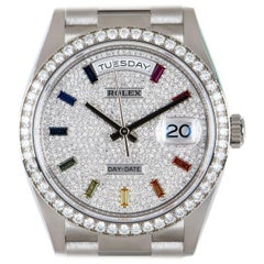 Rolex Day-Date Diamond-Paved Rainbow Sapphire Dial Diamond Bezel Watch