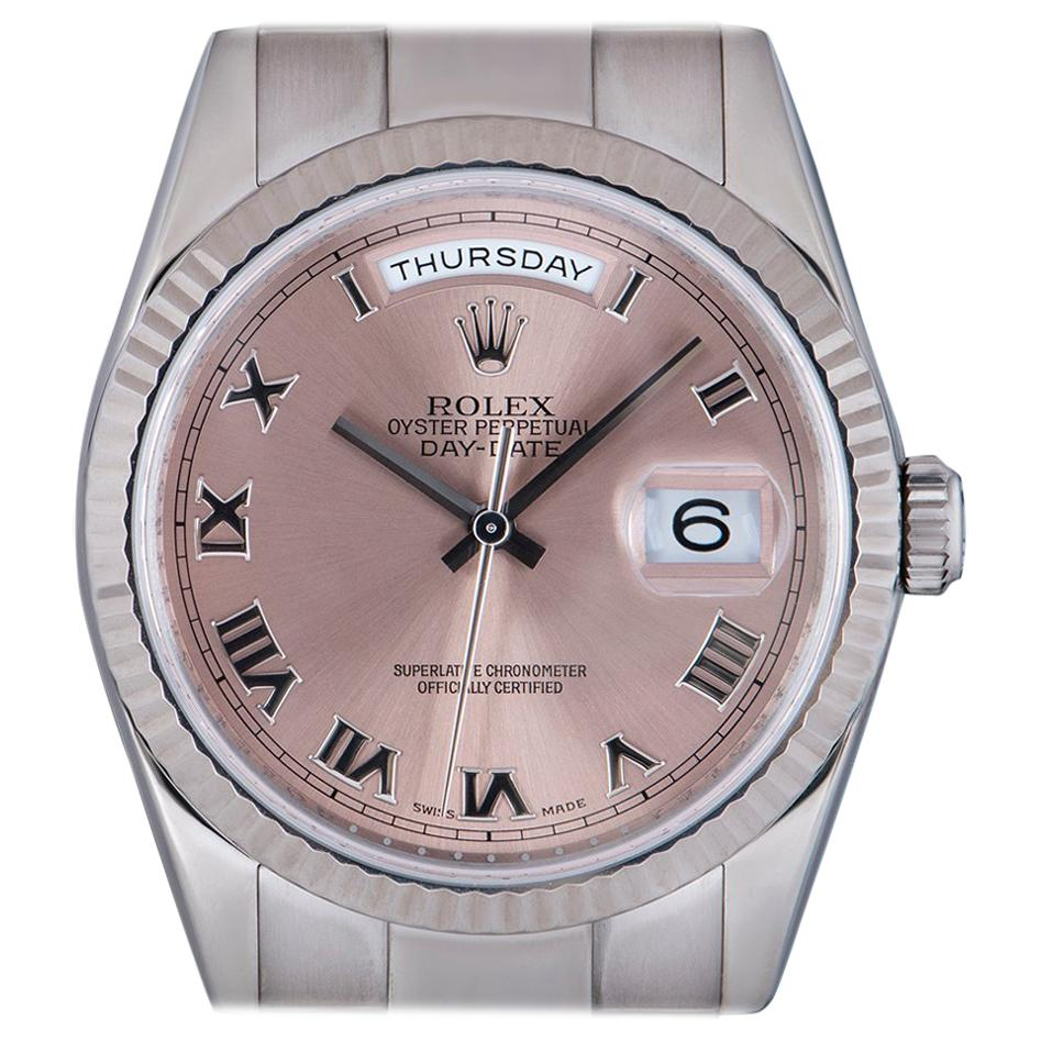 Rolex Day-Date Gents 18 Karat White Gold Salmon Dial 118239 Automatic Wristwatch