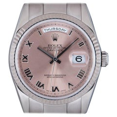 Rolex Day-Date Gents 18 Karat White Gold Salmon Dial 118239 Automatic Wristwatch
