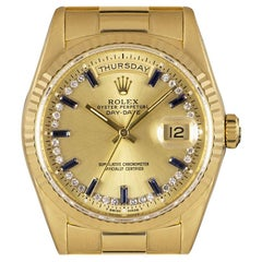 Rolex Day-Date Gents Yellow Gold Diamond & Sapphire String Dial 18238 Automatic