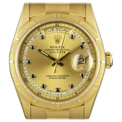 Rolex Day-Date Gold Bark Finish Diamond and Sapphire Dial Automatic Wristwatch